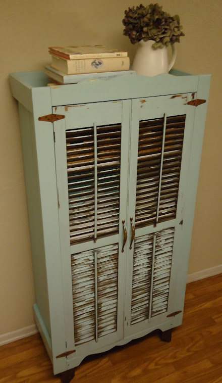 Charming Cabinet with Vintage Shutters and Hardware - SOLD