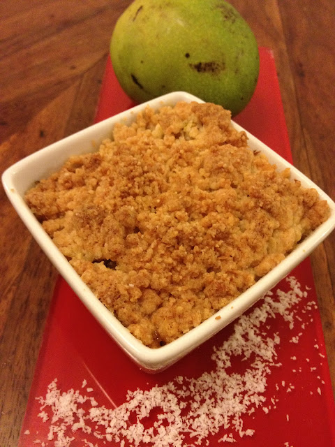 crumble mangue fruit de la passion coco citron vert