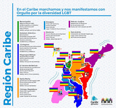 marcha gay orgullo lgbt barranquilla quilla cartagena sincelejo maicao magangue san andrés 2017 lesbianas sexo travesti colombia