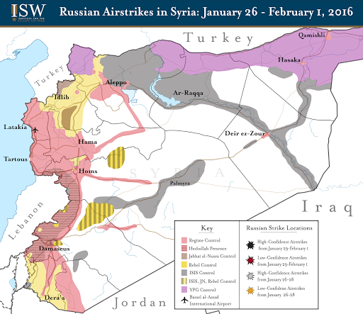 Russian Airstrikes in Syria: January 26 - February 1, 2016