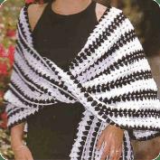 Chal con bodoques negros a Crochet