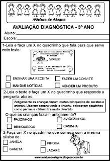 Avaliação diagnóstica para 3º ano