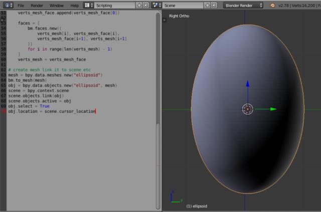 python-catalin: Blender 3D - ellipsoid