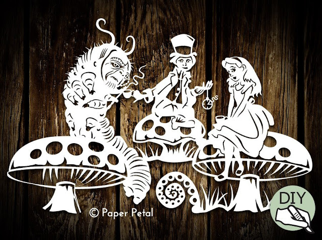 Alice in Wonderland Tea Party Papercutting Template