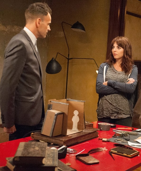 Jonny Lee Miller as Sherlock Holmes with Ophelia Lovibond as his apprentice Kitty Winter in CBS Elementary Season 3 Episode 1 Enough Nemesis To Go Around
