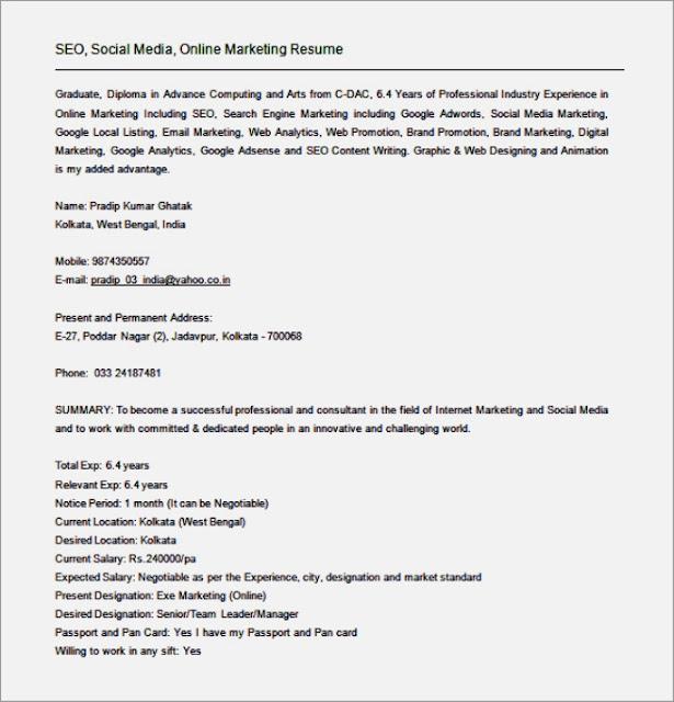 Seo Analyst Sample Resume