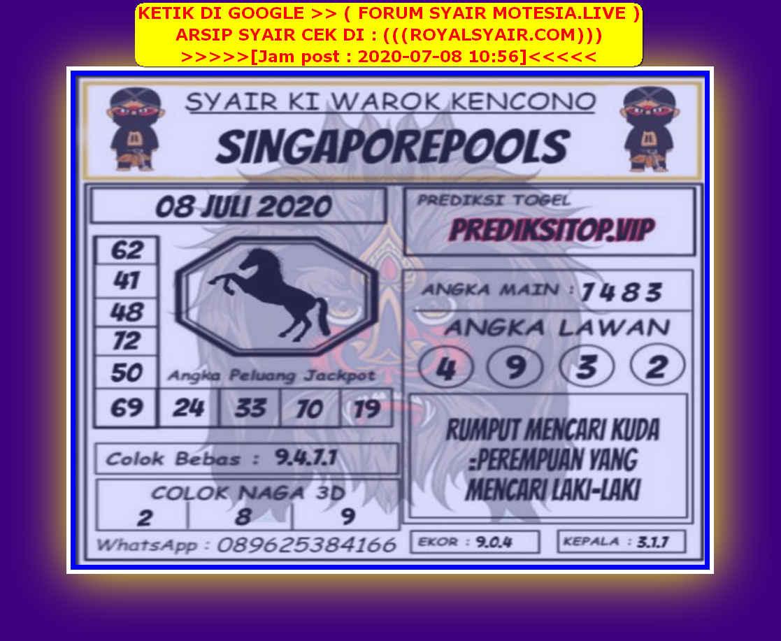 Kode syair Singapore Rabu 8 Juli 2020 131
