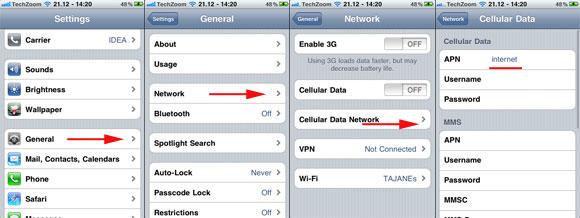 IPhones IOS internet 3g 4g setting