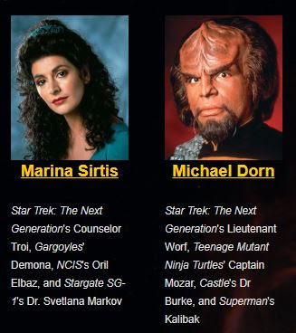 Image from the Shore Leave web site of Marina Sirtis and Michael Dorn