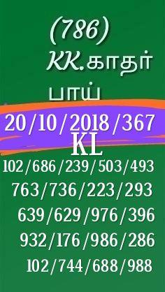 Kerala Lottery Guessing by K Kadar Bai dated 20.10.2018 Karunya KR 367