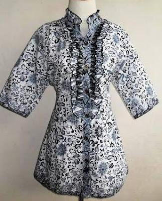 Gambar Desain Baju Batik Wanita Kerja Kantor