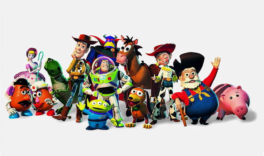 Personnages de Toy Story, le premier long-métrage d'animation entièrement réalisé en images de synthèse des studios Pixar.