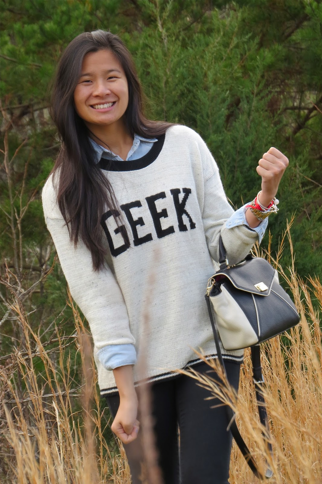 text printed sweater