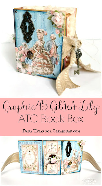 Graphic45 Gilded Lily ATC Book Box Tutorial Featuring ColorBox Graphic45 Decades Dye Ink by Dana Tatar for Clearsnap