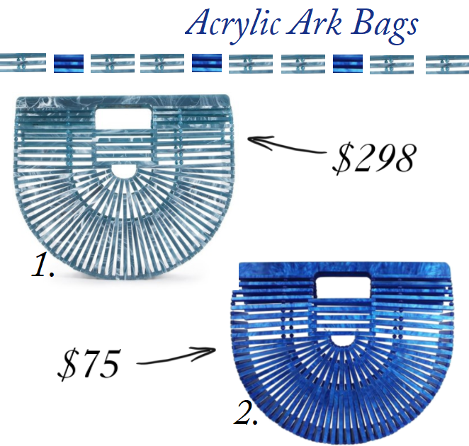 Cult Gaia Ark Bag, Cult Gaia Ark Bag dupe, Cult Gaia Blue Ark, Cult Gaia Acrylic bag, Cult Gaia Acrylic bag for less