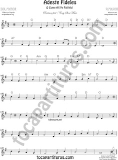 O come All Ye Faithful in G Major Sheet Music for Flute and Recorder (Sol Mayor) Music Scores
