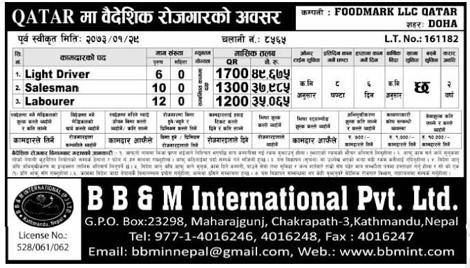 Jobs For Nepali In Qatar, Salary -Rs.49,675/