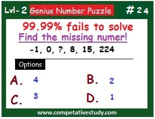 Math Puzzle: Find the missing number: -1, 0, ? , 8, 15, 224