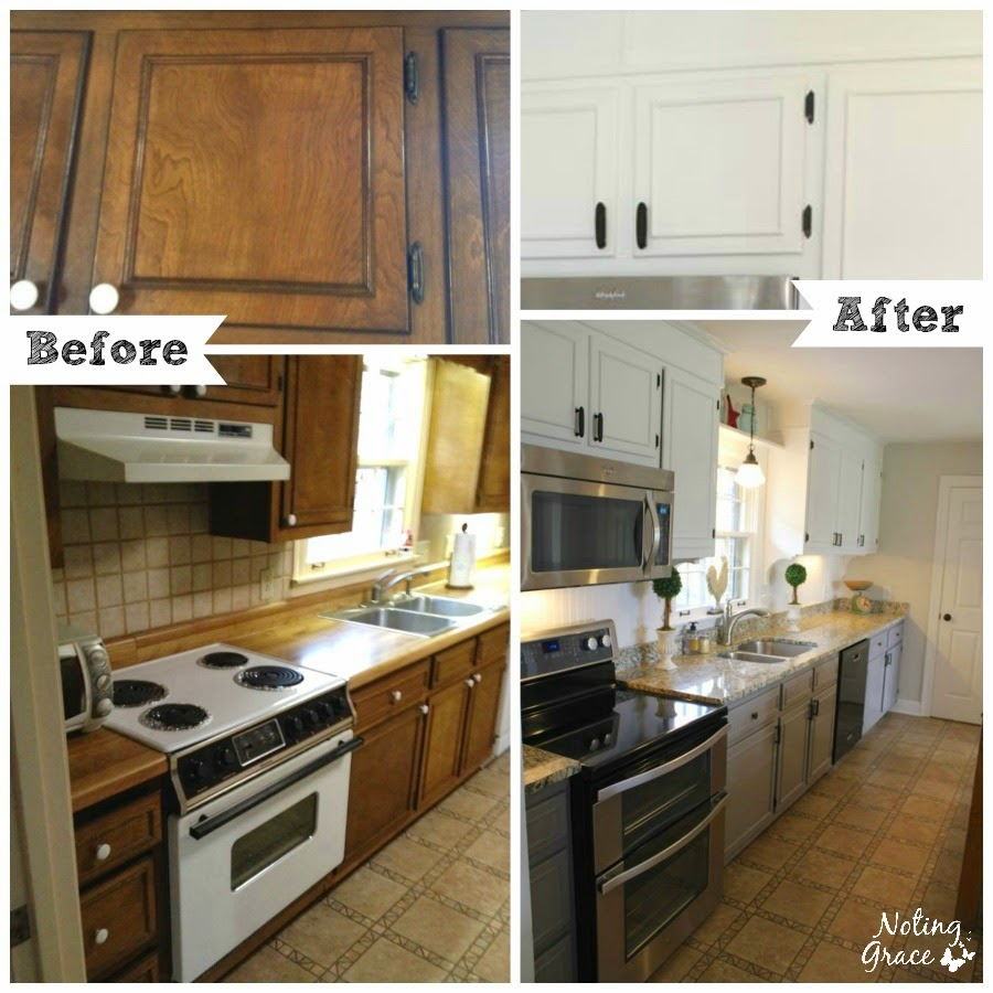Noting grace our amazing 5000 farmhouse kitchen remodel for Kitchen cabinets before and after