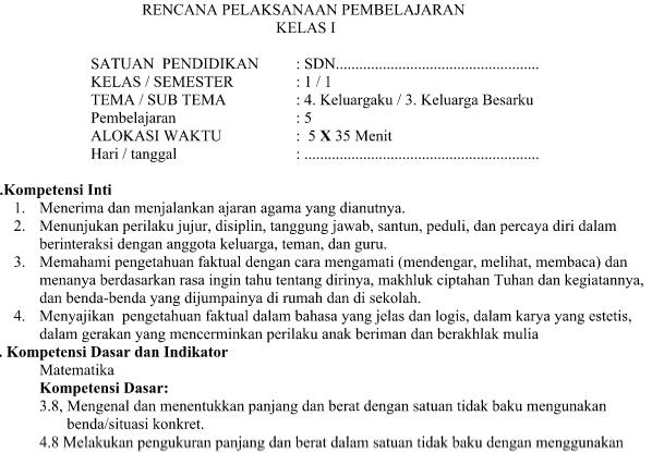 RPP Kurikulum 2013 SD Kelas 1 Tema 4 Subtema 3 Pembelajaran 5 Edisi Revisi