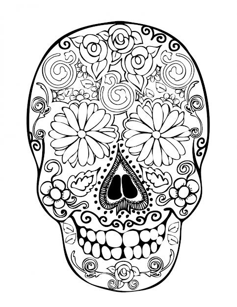Sugar Skulls Coloring Pages  Images About Sugar Skull Coloring Pages On  Pinterest Pictures