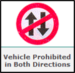 Vehicle prohibited in both side
