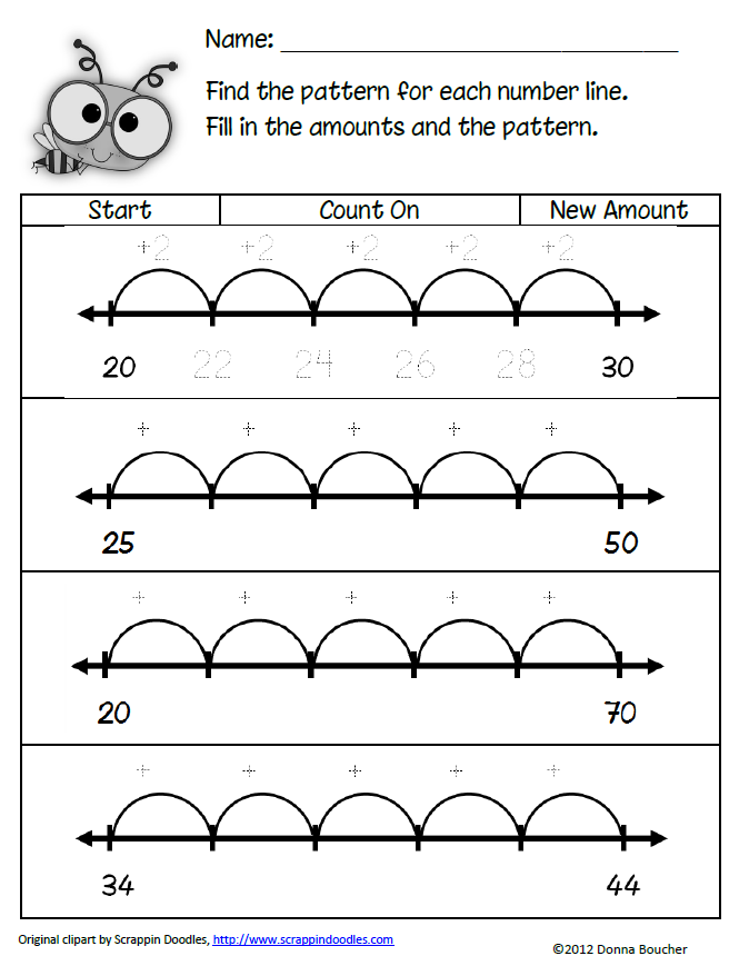 classroom freebies too patterns on a number line. Black Bedroom Furniture Sets. Home Design Ideas