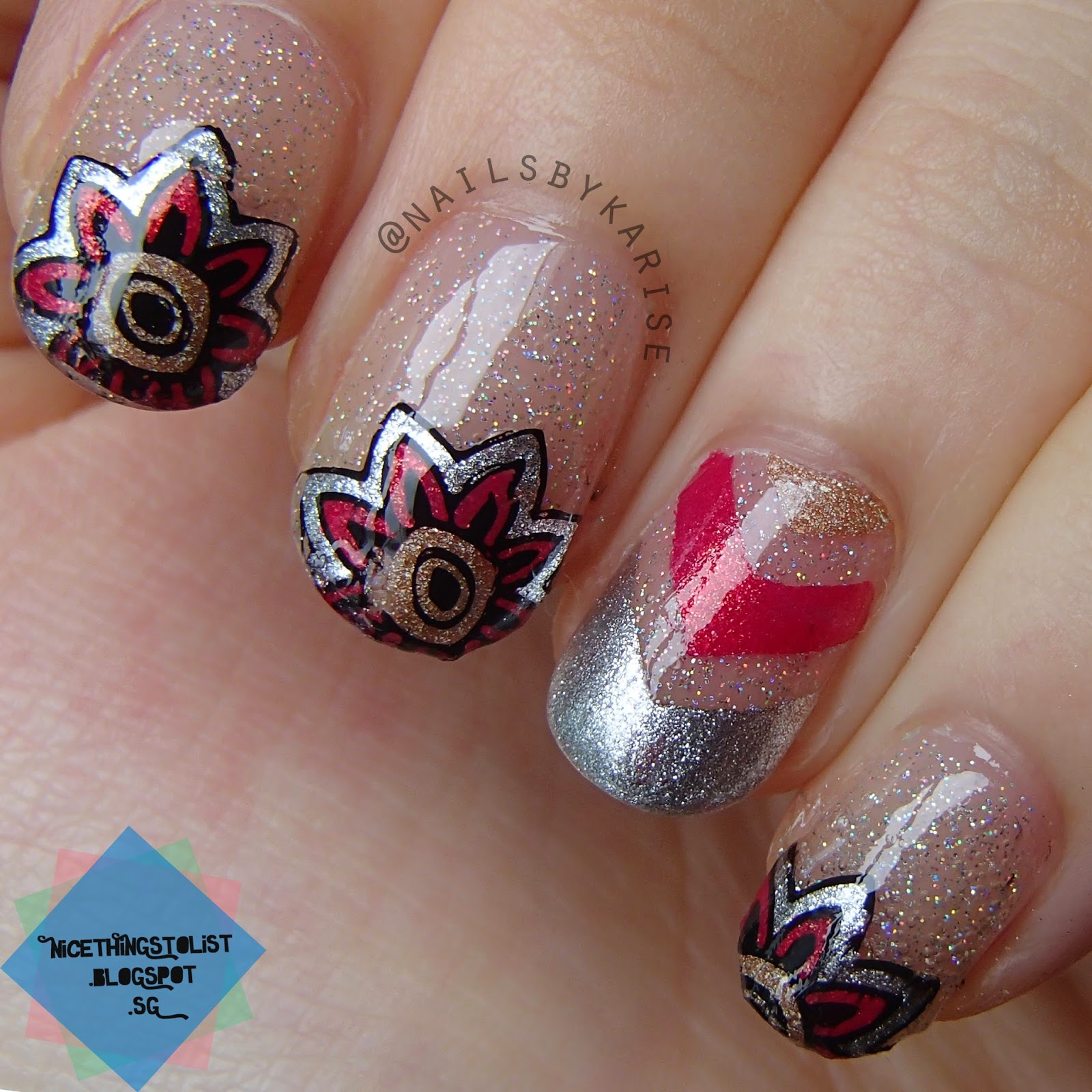 Simple Nail Art For Chinese New Year: Chinese New Year Nails Using Reverse Stamping Technique