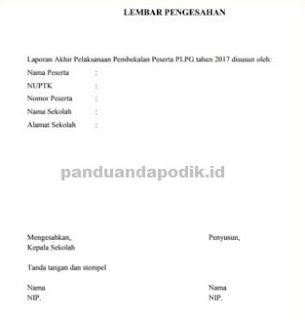 ontoh Laporan Akhir Pembekalan PLPG Tahun 2017