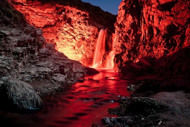 Glowing Waterfalls in California