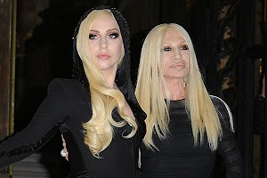 Lady Gaga and other celebrities at the Versace fashion show