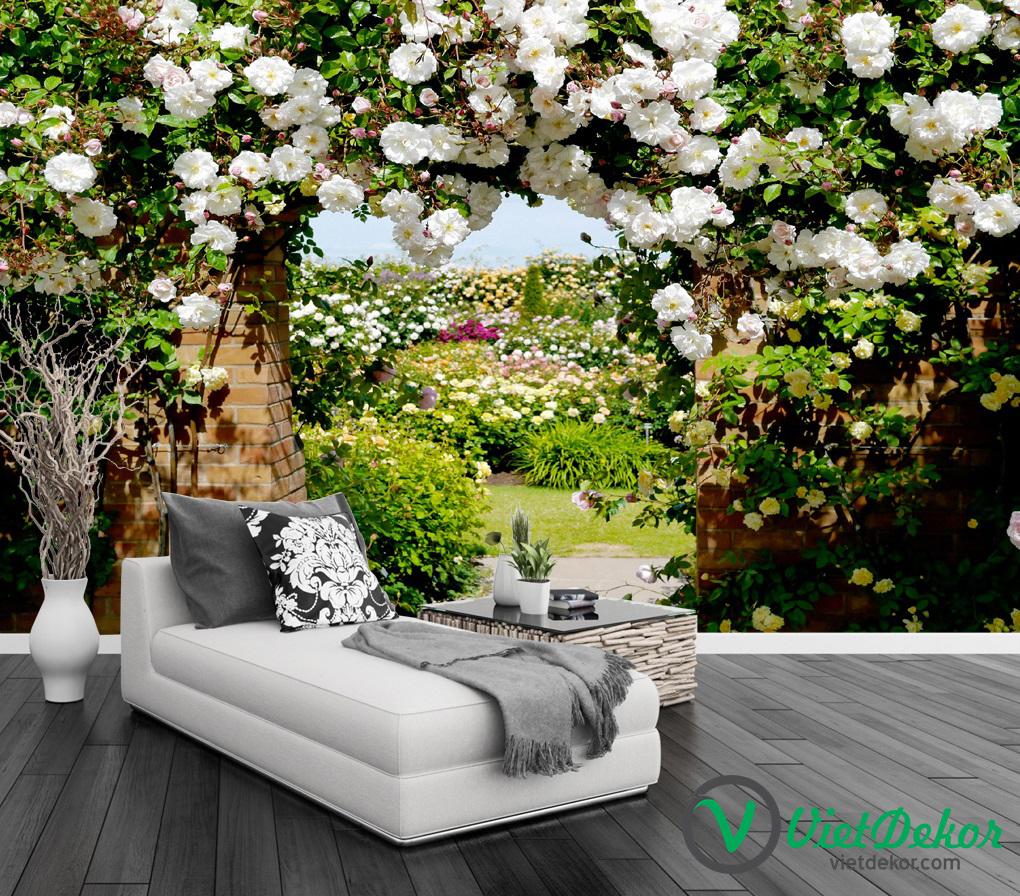 Tranh dán tường 3d hoa hồng cưới trang trí