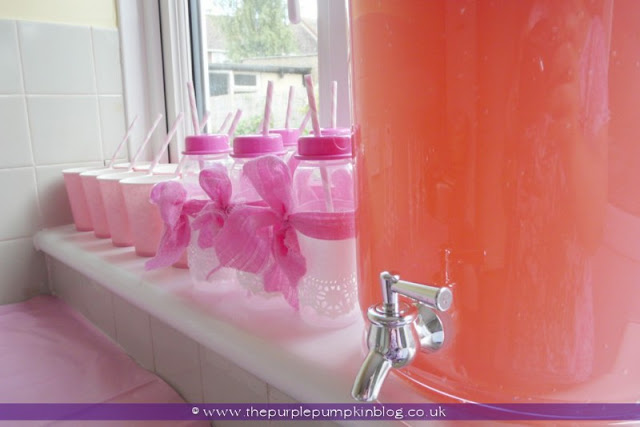 Pink Flavoured Lemonade for a Baby Shower at The Purple Pumpkin Blog
