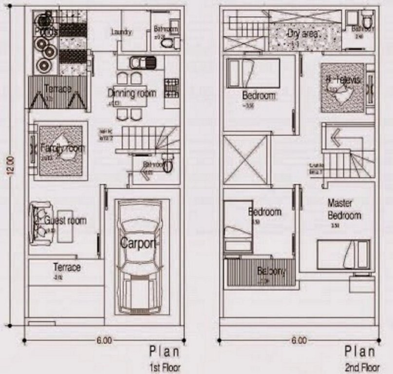 denah rumah ukuran 6x12 m2 minimalis