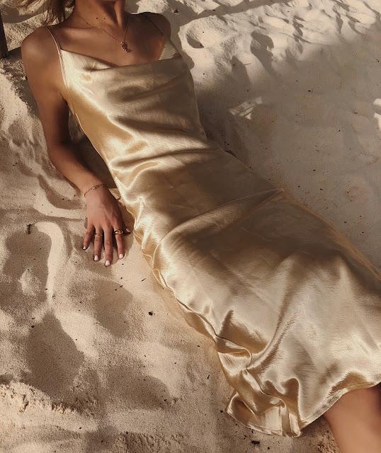 Golden slip dress
