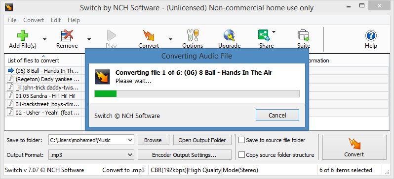 برنامج تحويل صيغ الصوت دفعة واحدة Switch Audio Converter أحدث إصدار