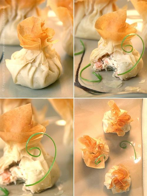 chrupiące sakiewki z ciasta filo z twarożkiem i łososiem