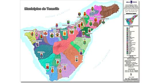 Mapa De Tenerife Municipios.Isla De Tenerife Vivela Ayuntamientos Y Blasones