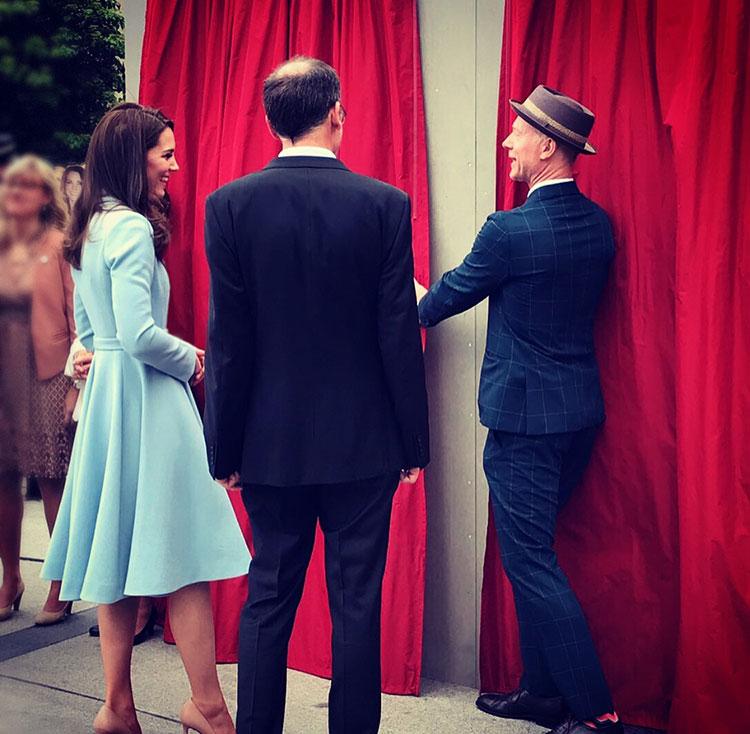 The Duchess of Cambridge unveils artworks by British artist James Straffon