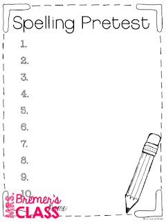 FREE spelling test, bonus words, and pretest templates!