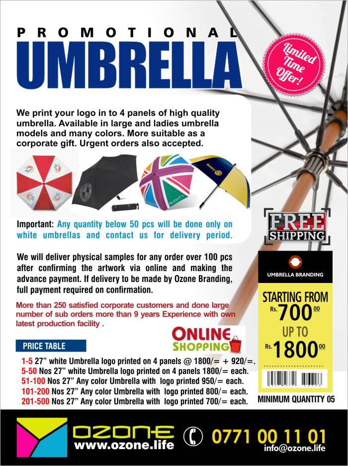We print your logo in to 4 panels of high quality  umbrella. Available in large and ladies umbrella  models and many colors. More suitable as a  corporate gift. Urgent orders also accepted.