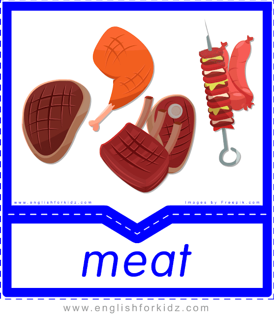 Meat - English food flashcards for ESL students