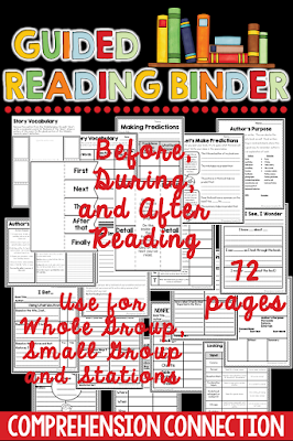 Print and Go activities you can use for small group instruction and literacy workstations. All you need to add is a book of your choice. Activities help the teacher with assessing student understanding of comprehension skills.