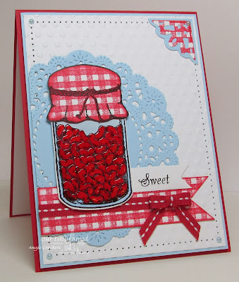 ODBD Gingham Background, Canning Jars and custom dies, Canning Jar Fillers 2, Little Girls (sentiment), ODBD Ornate Borders and Flower Die Set (corner), Card Designer Angie Crockett