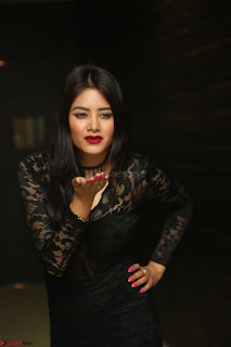 Actress Monica in spicy transparent Black Top at O Pilla Nee Valla Movie Audio Launch Feb 2017 146.JPG