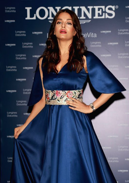 Aishwarya Rai Bachan in Blue Long Gown at the Inauguration of New Longines Boutique in Noida
