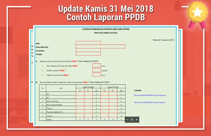 Update Kamis 31 Mei 2018 Contoh Laporan PPDB