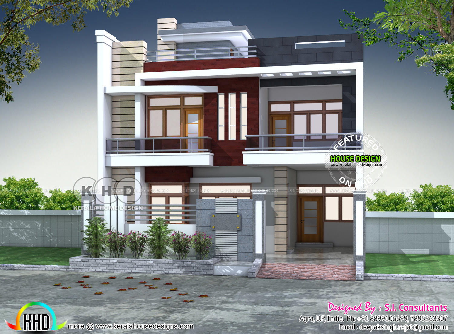 North indian contemporary home plan kerala home design for North indian house plans with photos