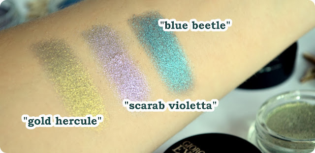 Armani eyes to kill eye shadow BLUE BEETLE, SCARAB VIOLETTA & GOLD HERCULE Swatch