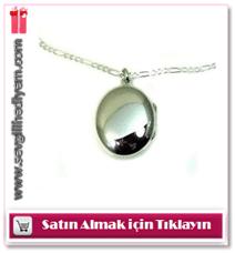 925 Ayar Gümüş İçine Foto Konulan Oval Kolye